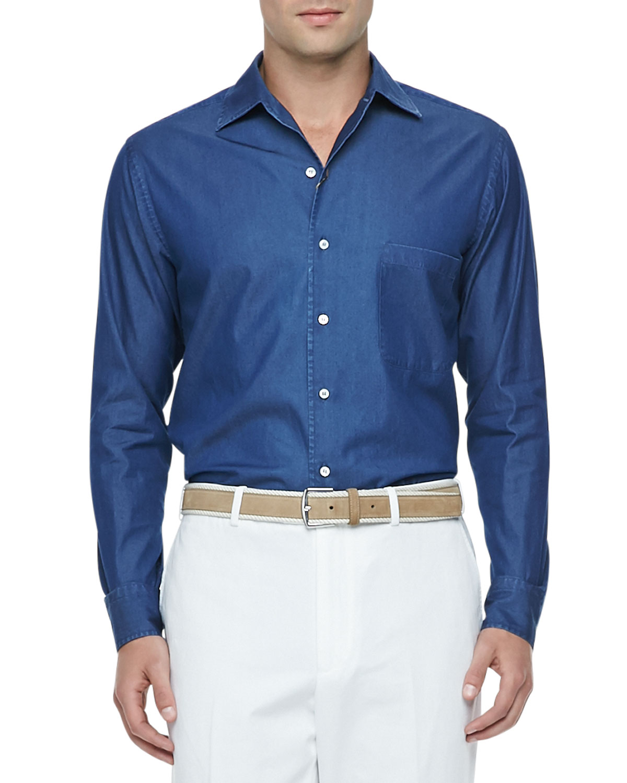 Mens Denim Long Sleeve Shirt, Atlantis Blue   Loro Piana   Atlantis blue (X