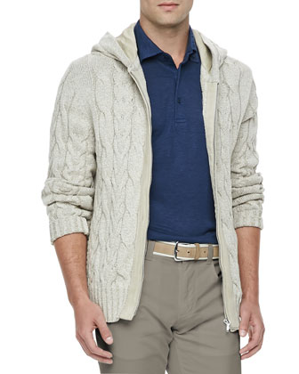 Linen-Blend Cable-Knit Jacket, Canvas Beige