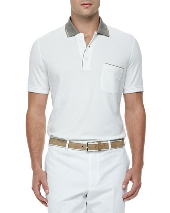 Regatta Contrast-Collar Polo, White/Khaki