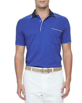 Regatta Contrast-Collar Polo, Royal Blue/Navy