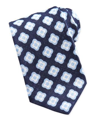 Floral-Medallion Linen Tie, Navy