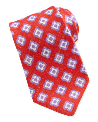 Floral-Medallion Linen Tie, Red/Purple