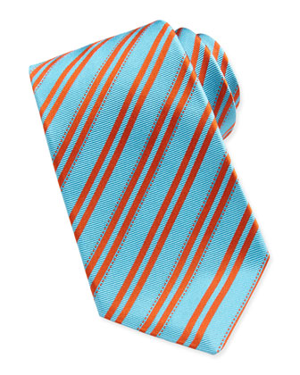Double-Stripe Woven Tie, Aqua/Orange