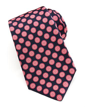 Round-Floral Silk Tie, Navy/Pink