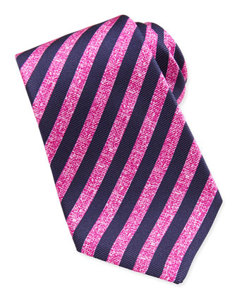 Large-Stripe Silk Tie, Navy/Pink