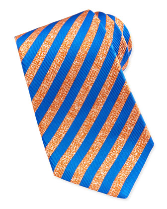 Large-Stripe Silk Tie, Orange/Blue