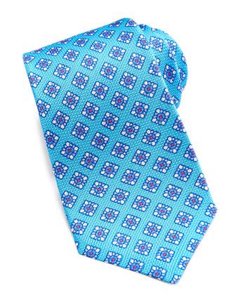 Floral-Medallion Grenadine Tie, Turquoise