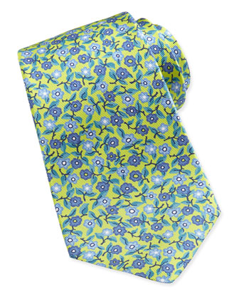 Floral-Print Silk Tie, Yellow