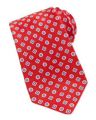 Geometric-Print Linen/Silk Tie, Red/Blue