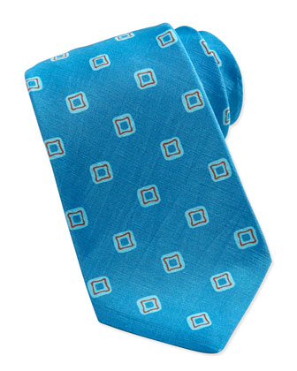 Spaced Squares Linen/Silk Tie