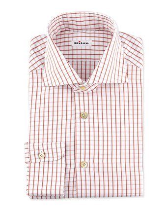 Multi-Check Dress Shirt, Orange/Brown