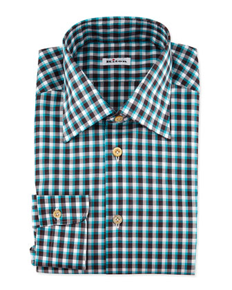 Long-Sleeve Check Dress Shirt, Teal/Brown