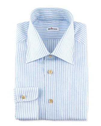 Striped Linen Dress Shirt, Blue