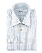 Small-Check  Dress Shirt, Green/Blue