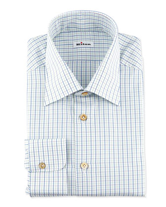 Small-Check Dress Shirt, Green/Blue