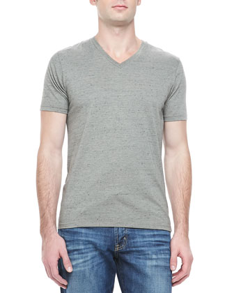 Flecked V-Neck Tee, Green