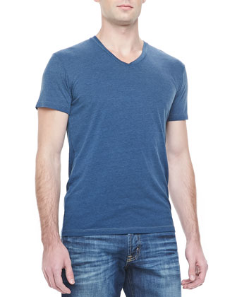 Flecked V-Neck Tee, Blue