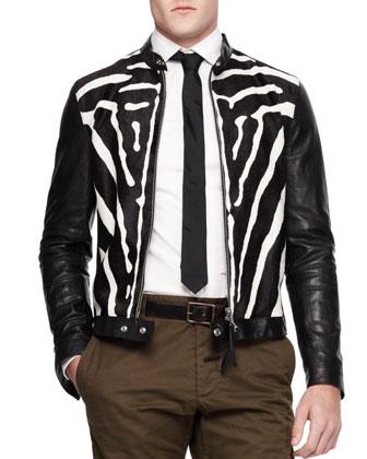 Zebra-Print Combo Zip Jacket