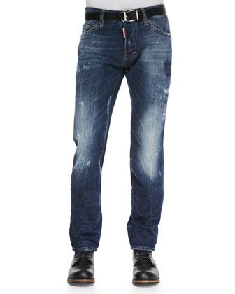 Distressed Washed Denim Jeans, Blue