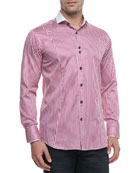 Alex Striped Sport Shirt, Purple