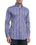 Yunis Striped Jacquard Sport Shirt, Purple