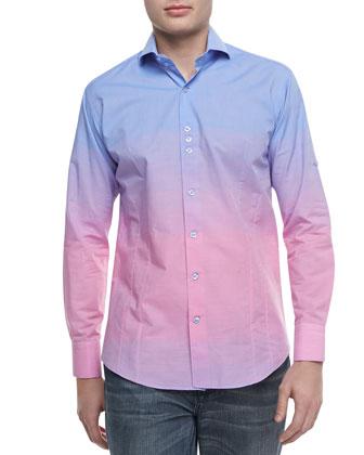 Ombre D-RY Sport Shirt, Blue/Pink