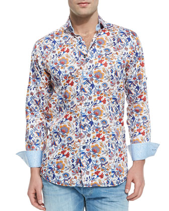 Victor Floral-Print Sport Shirt, Multi