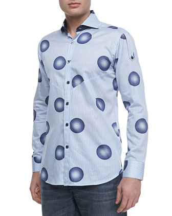 Ronny Printed Sport Shirt, Light Blue