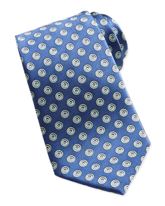 Circles Printed Silk Tie, Blue