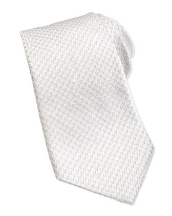 V-Logo Silk Tie, White