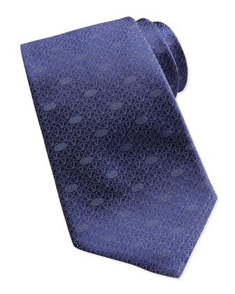 Circle V Logo Silk Tie, Blue