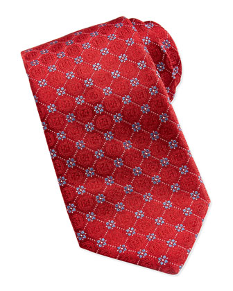 Medallion Flower Silk Tie, Red