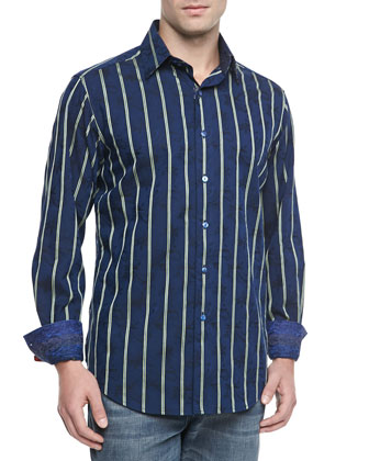 Mantis Striped Sport Shirt, Navy