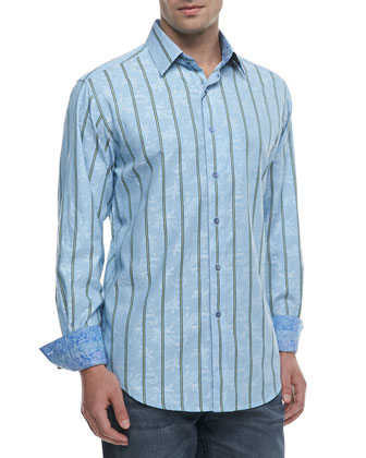 Mantis Striped Sport Shirt, Light Blue