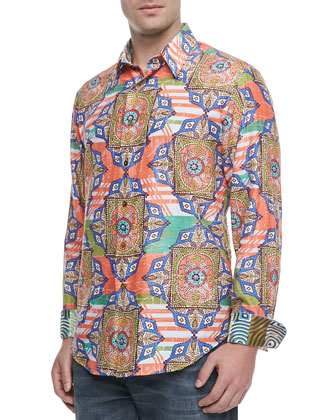 Margari Printed Sport Shirt, Orange