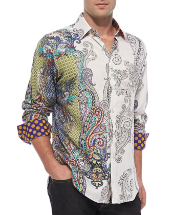 Marky Mark Paisley Long Sleeve Shirt, Multicolor