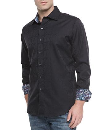 Salisbury Tonal-Jacquard Sport Shirt, Black