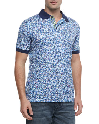Costanza Printed Polo, Navy