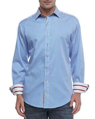 Excalibur Striped Sport Shirt, Blue