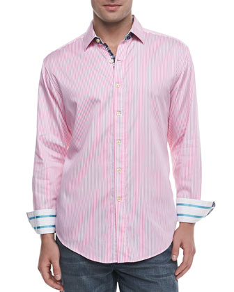 Excalibur Striped Sport Shirt, Pink