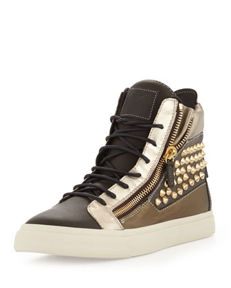 Men's Metallic Stud Double Zip High-Top Sneaker