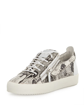 Men's Zip Python-Print Low-Top Sneaker