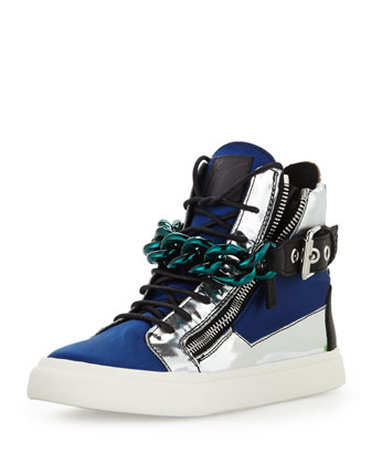 Men's Satin & Metallic Chain High-Top Sneaker, Blue/Silver
