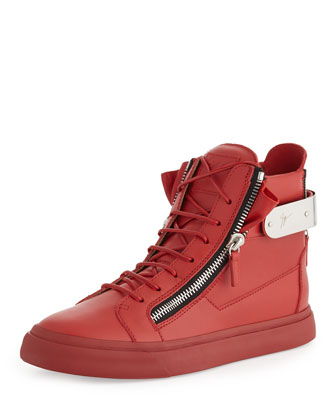 Men's Leather Back-Strap High-Top Sneaker, Red