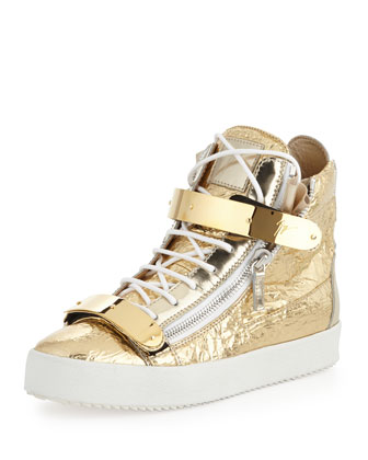 Men's Foil Metallic Leather High-Top Sneaker