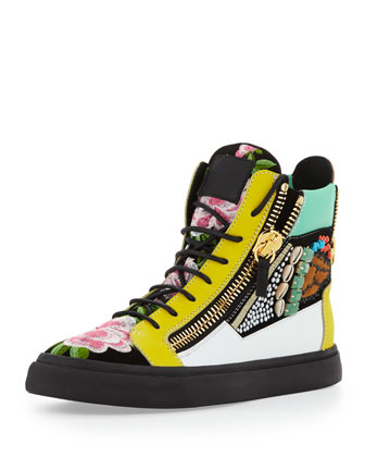 Men's Floral Jeweled Zip High-Top Sneaker