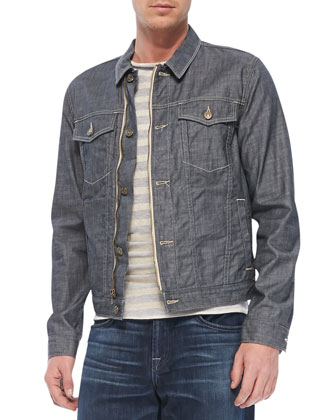 Trucker Denim Jacket, Gray/Beige