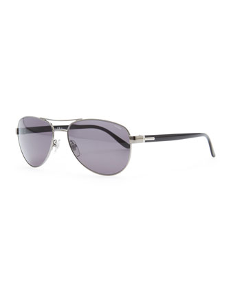 Metal Aviator Sunglasses, Dark Gray