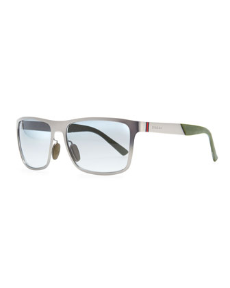 Web-Detail Square Sunglasses, Gray
