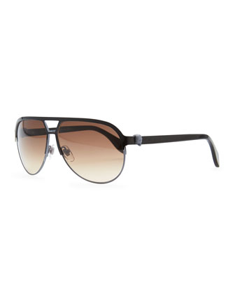 Silver Skull Aviator Sunglasses, Black